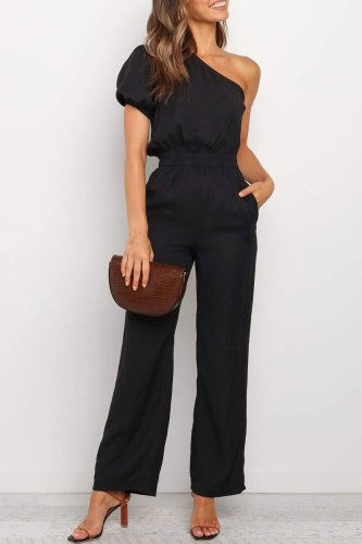 Bomshe One Shoulder Black Jumpsuit