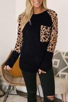 Bomshe Leopard Patchwork Black T-shirt