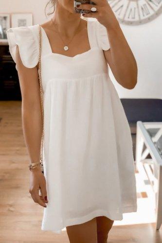 Bomshe Fold Design White Knee Length Dress