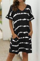 Bomshe Tie-dye Black Midi Dress