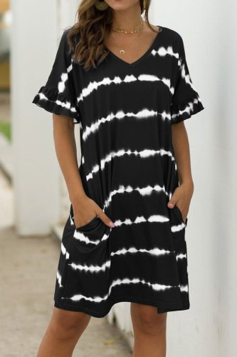 Bomshe Tie-dye Black Midi Dress