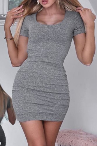 Bomshe Back Hollow-out Grey Mini Dress
