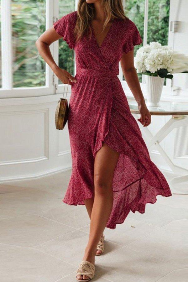 Bomshe Floral Print Asymmetrical Rose Red Midi Dress (2 Colors)