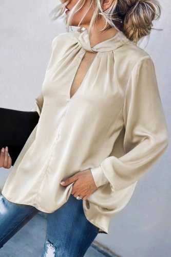 Bomshe Hollow-out Apricot Blouse
