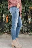 Bomshe Casual Patchwork Blue Jeans