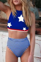 Bomshe Striped Print Navy Blue Two-piece Swimsuit
