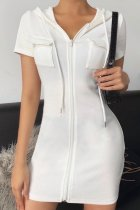Bomshe Zipper Pocket White Mini Dress