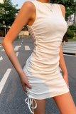 Bomshe Fold White Slim Mini Dress