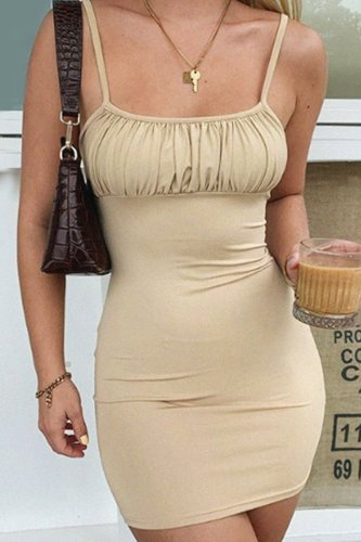 Bomshe Fold Design Apricot Mini Dress