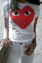 Bomshe O Neck Heart Print White T-shirt