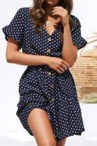 Bomshe Dot Print Navy Blue Mini Dress