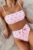 Bomshe Heart Print Knot Design Pink Bikini Set (3 Colors)