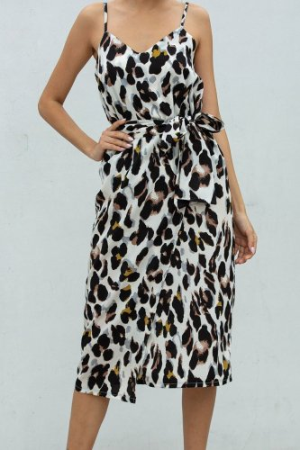Bomshe Leopard Print Knee Length Dress