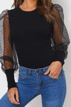 Bomshe Dot Patchwork Black Blouse
