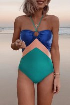 Bomshe Color-lump Patchwork Multicolor One-piece Swimsuit