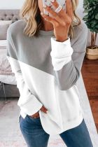 Bomshe Splice Patchwork Grey Sweatshirt
