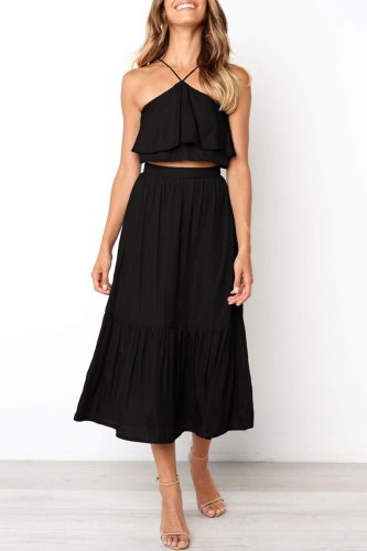 Bomshe Halter Neck Ruffle Design Black Two-piece Skirt Set