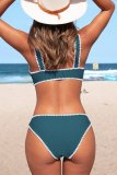 Bomshe Patchwork Blue Two-piece Swimsuit