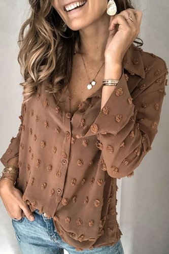 Bomshe Turndown Collar Patchwork Coffee Shirt