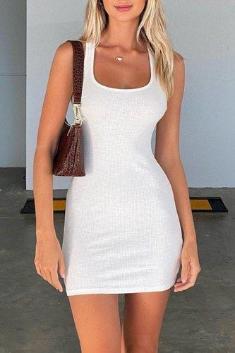 Bomshe Backless White Mini Dress
