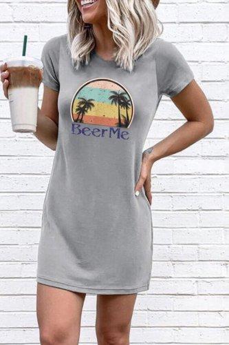 Bomshe Print Grey Mini Dress