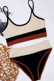 Bomshe Patchwork Beige Bikini Set(3 Colors)