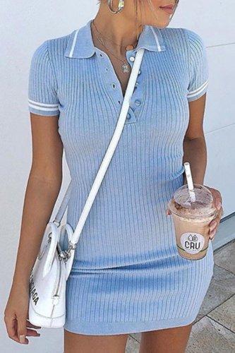 Bomshe Turndown Collar Buttons Design Blue Mini Dress