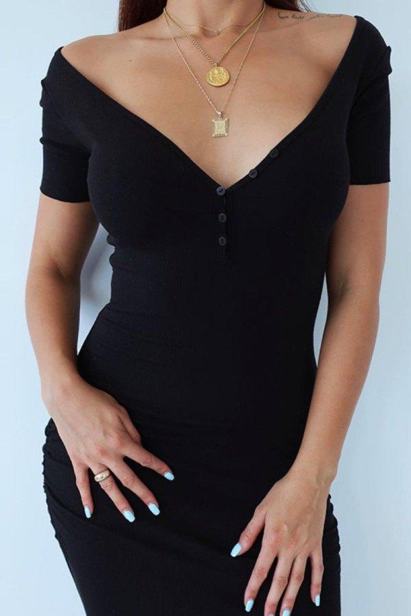 Bomshe Deep V Neck Black Slim Midi Dress