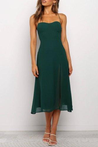 Bomshe Sleeveless Green Mid Calf Dress