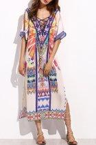 Bomshe Print White Midi Dress