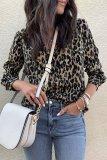 Bomshe Turndown Collar Leopard Printed Blouse