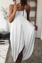 Bomshe Loose Asymmetrical White Maxi Dress(5 Colors)