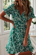 Bomshe Floral Print Green Mini Dress(2 Colors)