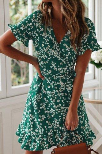 Bomshe Floral Print Green Mini Dress(2 Colors)