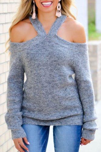 Bomshe Dew Shoulder Grey Sweater