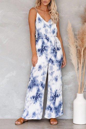Bomshe Tie-dye V Neck Blue One-piece Jumpsuit