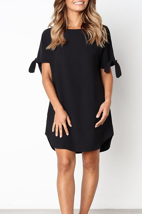 Bomshe Casual Round Neck Black Knee Length Dress(2 Colors)