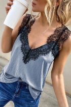 Bomshe Deep V Neck Lace Patchwork Blue Camisole