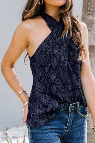Bomshe Cross Straps Animal Print Black Camisole