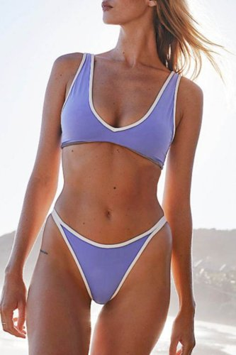 Bomshe Patchwork Light Purple Two-piece Swimsuit