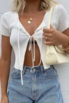 Bomshe Lace-up Blue Top(2 Colors)