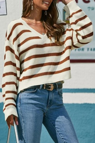 Bomshe Striped Apricot Sweater