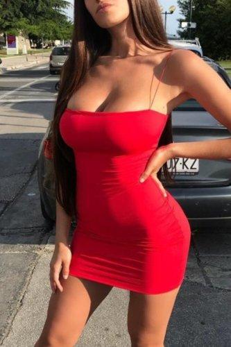 Bomshe Dew Shoulder Red Mini Dress