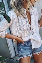 Bomshe Lace Patchwork White Shirt
