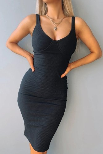 Bomshe Skinny Black Slim Midi Dress