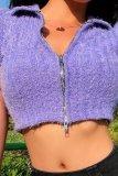 Bomshe Zipper Design Purple Top