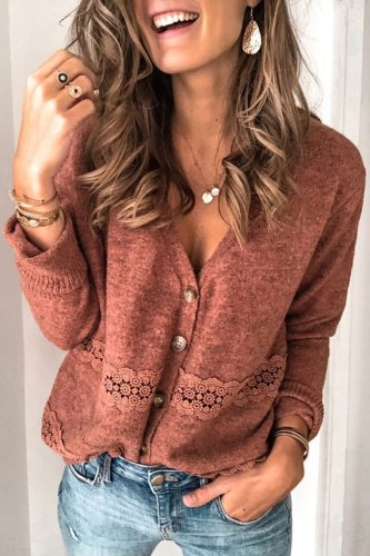 Bomshe V Neck Lace Patchwork Brick Red Cardigan