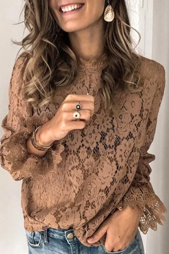 Bomshe O Neck Hollow-out Brown Blouse