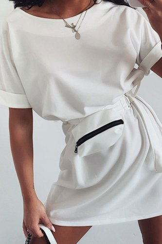 Bomshe Basic Waist Tie Loose White Mini Dress