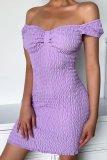 Bomshe Fold Design Purple Mini Dress